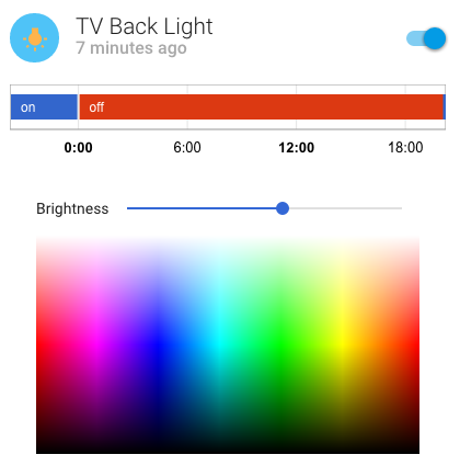 The more info dialog for a light allows the user to control the color and the brightness.